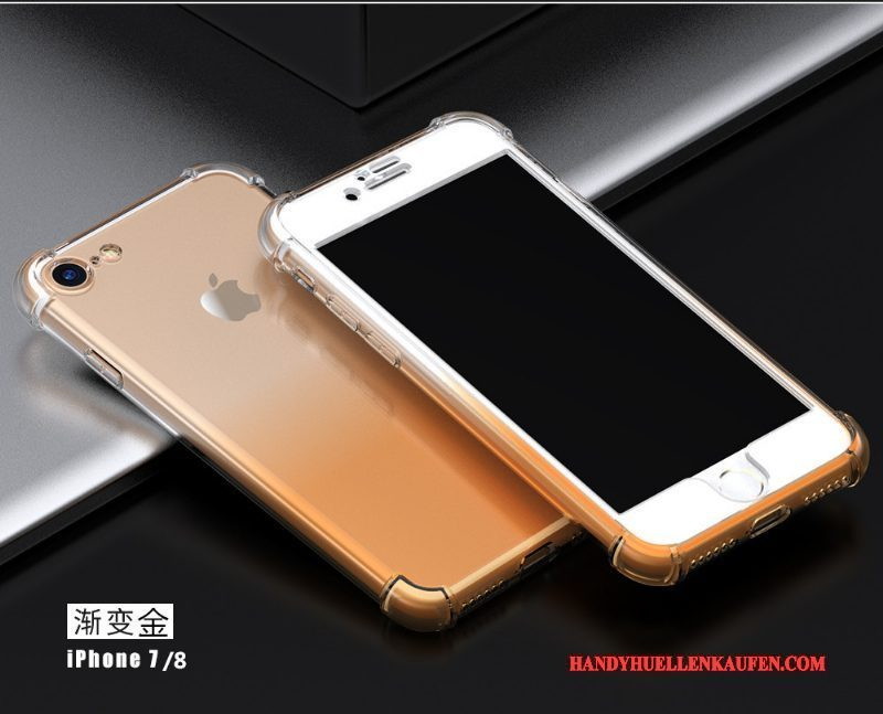 Hülle Für iPhone 8 Plus Anti-sturz Gold Transparent Handyhüllen Silikon Ballon